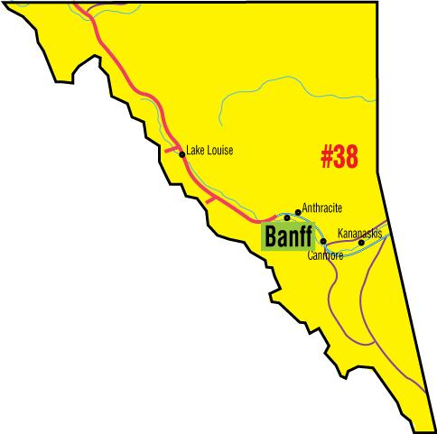 A map of the Alberta Union of Provincial Employees' Banff Area Council.