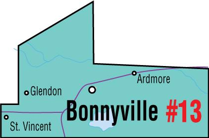 A map of the Alberta Union of Provincial Employees' Bonnyville Area Council.