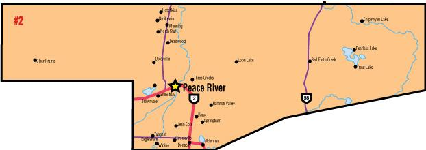 A map of the Alberta Union of Provincial Employees' Peace River Area Council